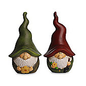 A Pair Of Terracotta Gnome Garden Ornaments Red & Green Hats