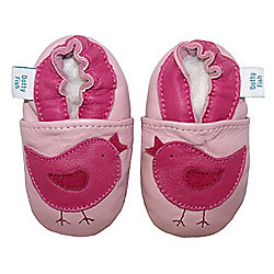 Dotty Fish Soft Leather Baby Shoe - Pink Bird