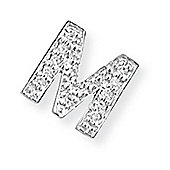 Jewelco London 9ct White Gold - Diamond - M' Initial Charm Pendant -