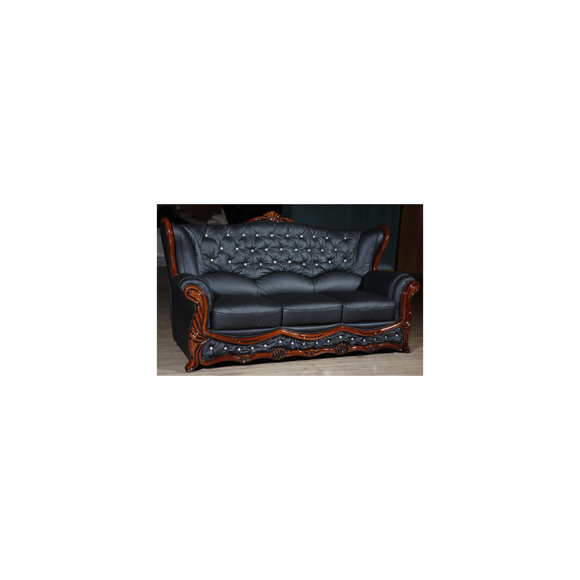 JPL Furniture Christina Leather 3 Seater Sofa with Crystal at Tesco Direct