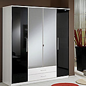 Amos Mann furniture Milano 4 Door 2 Drawer Wardrobe - Black and White