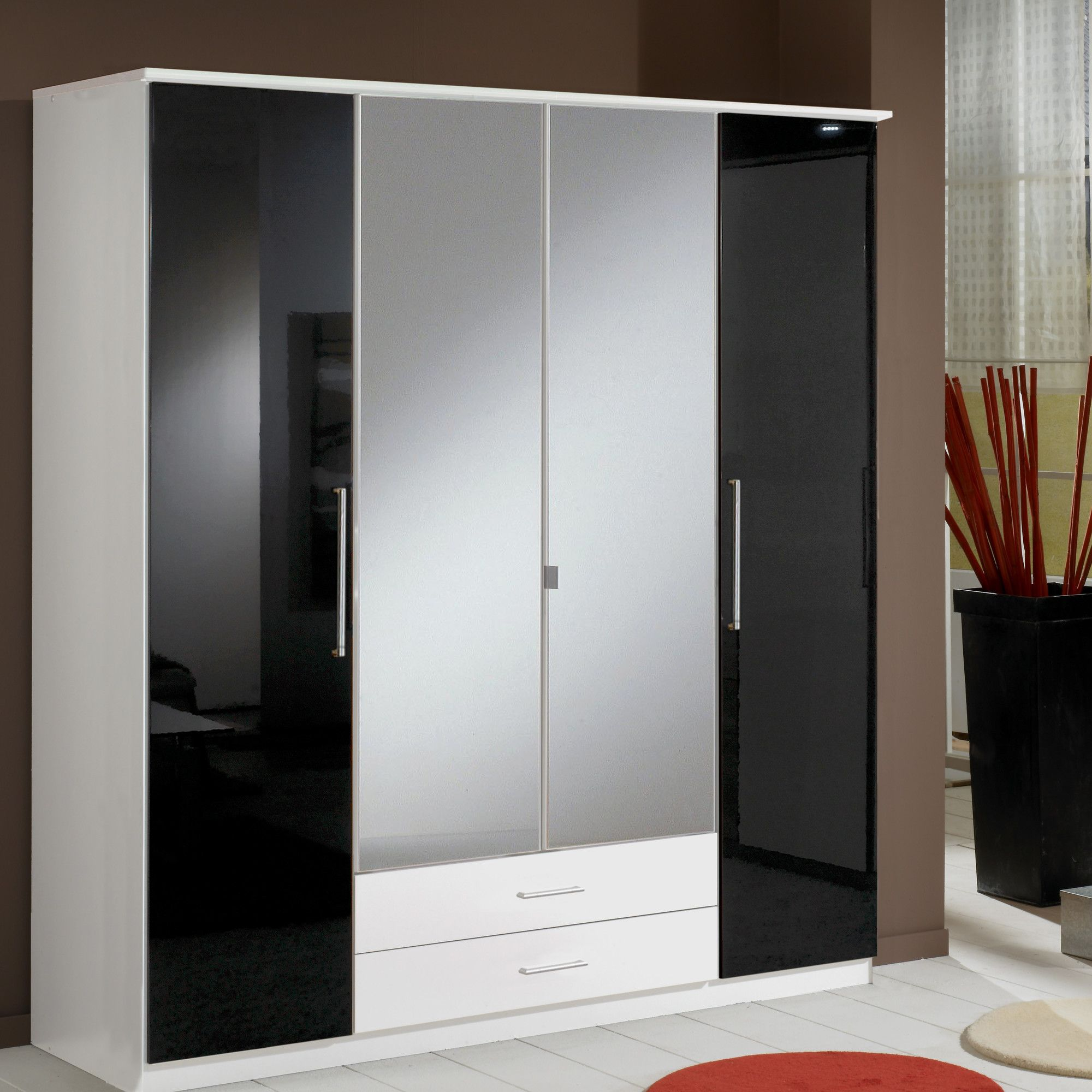 Amos Mann furniture Milano 4 Door 2 Drawer Wardrobe - Black and White at Tesco Direct