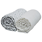Cuddles Collection Pack of 2 Muslin Swaddles (White/Silver Stars)