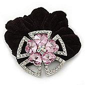Large Layered Rhodium Plated Swarovski Crystal 'Flower' Pony Tail Black Hair Scrunchie - Light Pink/ Clear/ AB