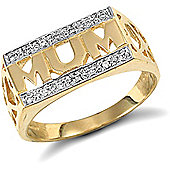Jewelco London 9ct Solid Gold Mum Ring with 2 rows set with CZ stones