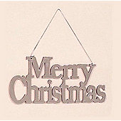 Mirrored 23cm Merry Christmas Hanging Festive Sign