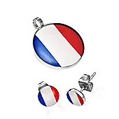 Urban Male Stainless Steel Flag of France Pendant & Earring Set For Men