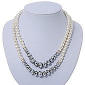 Two Row White Glass Pearl & Grey Crystal Beads Necklace - 46cmc Length /6cm Extension