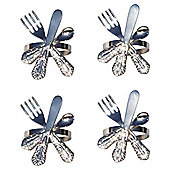 Tesco Silver Cutlery Napkin Ring 4 Pack