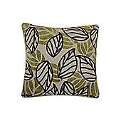 Linea Leaf Design Chenille Cushion In Green