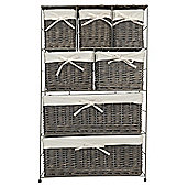 Tesco Wicker Fabric Lined 7 Drawer Tower, Grey