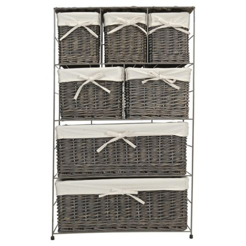 Tesco Grey Wicker Lined 7 Drawer Tower