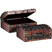 Travel - Set Of 2 Faux Leather Decorative Storage Trunks / Cases - Brown / Black