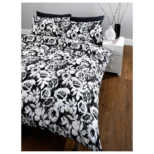Tesco Mono Floral Double Duvet Set, Black & White