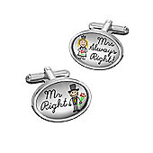 Sub Text Mr and Mrs Right Wedding Cufflinks By WD London