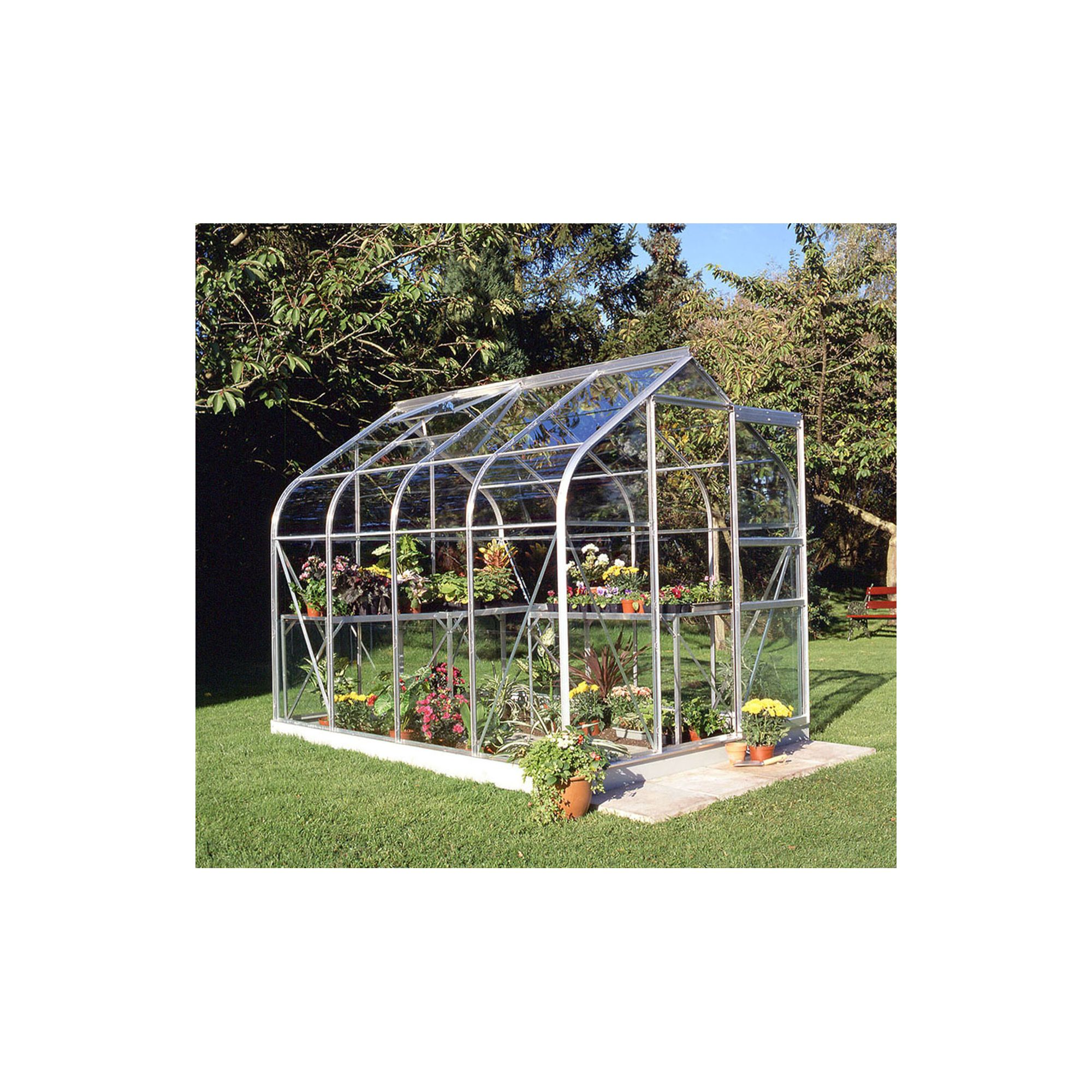 Halls 8x6 Curved Aluminium Greenhouse + Base - Toughened Glass at Tesco Direct