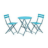 Padstow Sky Blue Folding Steel Bistro Set