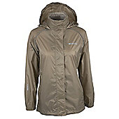 Pakka Womens Taped Seams Waterproof Jacket Fold Pack Away Hiking Rain Coat + Bag - Beige