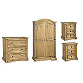 Corona Mexican Bedroom Set 2 Door Wardrobe, 3 Drawer Chest, 2x 3 Drawer Bedside