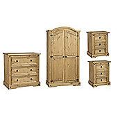 Corona Mexican Bedroom Set 2 Door Wardrobe, 3 Drawer Chest, 2x 3 Drawer Bedside
