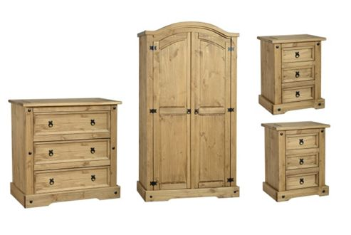 Buy corona mexican bedroom set 2 door wardrobe 3 drawer chest 2x 3 drawer bedside from our Tesco home bedroom furniture