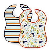 Mothercare Dinosaur and Stripe Crumbcatcher Bibs- 2 Pack