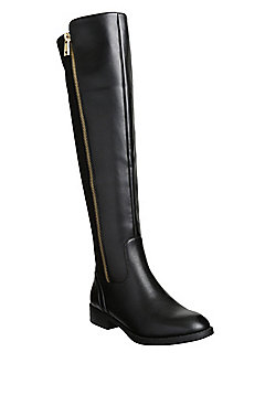 F&F Zip Detail Mixed Texture Over The Knee Boots - Black