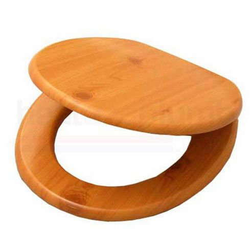 Wood Cedar MDF Wood Toilet Seat with Metal Bar Hinge