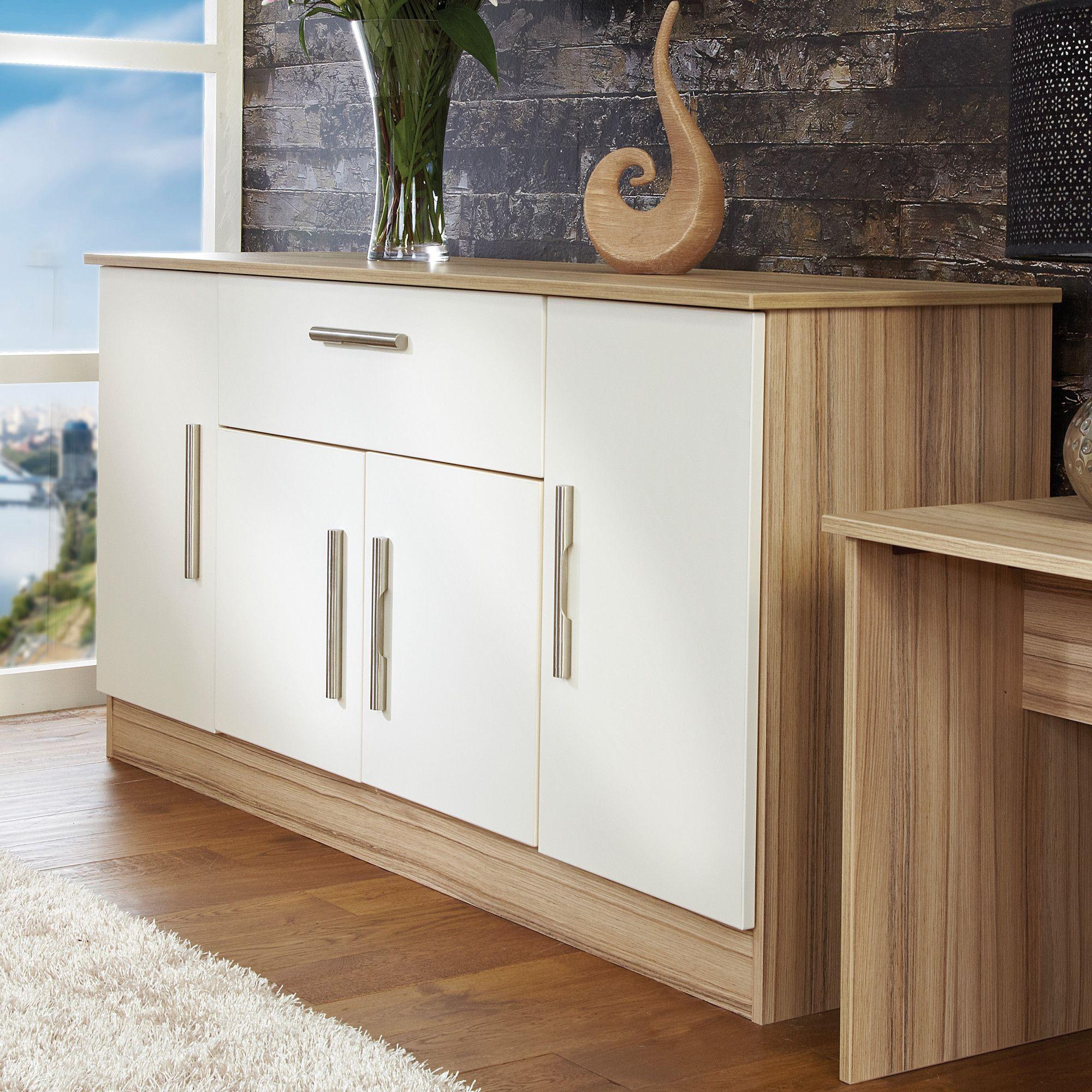 Welcome Furniture Living Room Wide 4 Door / 1Drawer Unit - Vanilla/Cocobola at Tescos Direct