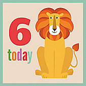 6th Birthday Lion Card
