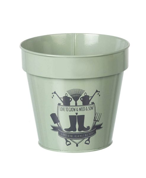 buy parlane green metal 39 love to grow 39 flower plant pot. Black Bedroom Furniture Sets. Home Design Ideas