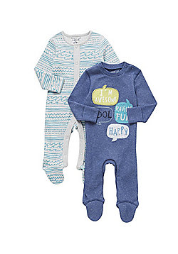 F&F 2 Pack of Speech Bubble and Wave Print Sleepsuits - Blue