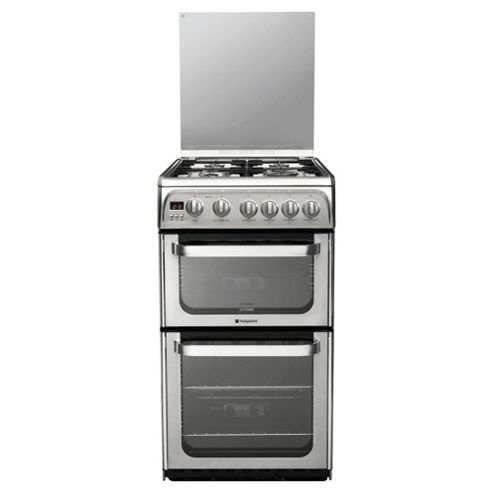 Hotpoint HUG52X, Stainless Steel, Gas Cooker, Double Oven, 50cm