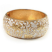 Wide White Enamel Floral Pattern Hinged Bangle Bracelet (Gold Plated)