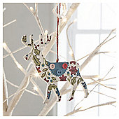 Gisela Graham Wooden Reindeer Floral Design Hanging Decoration