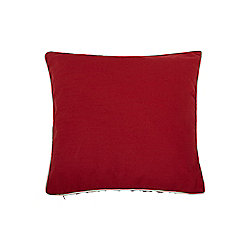Linea Red Cotton Cushion With Contrast Piping In Red