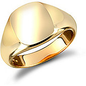 Jewelco London 9ct Solid Gold polished squared cushion shaped Signet Ring