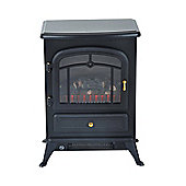Homcom Freestanding Electric Fire Place Indoor Heater Glass View Log Wood Burning 1850W
