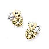 9ct Diamond Set Heart Earrings
