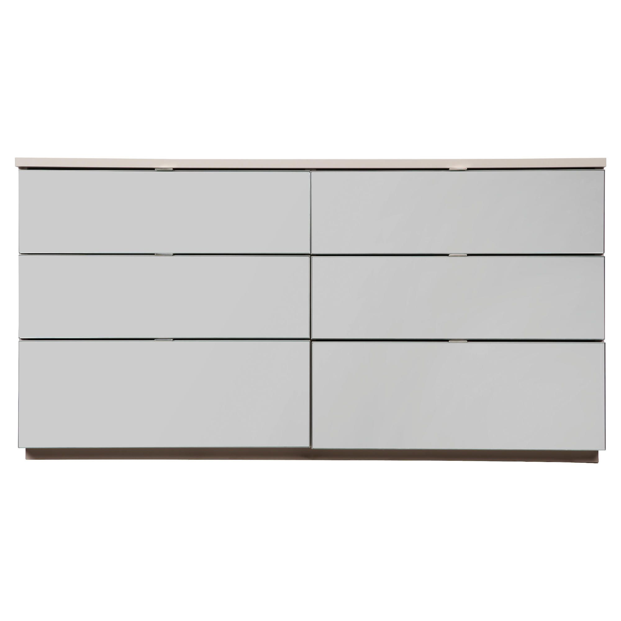 Palermo 6 Drawer Wide Chest Taupe Mirrored at Tesco Direct