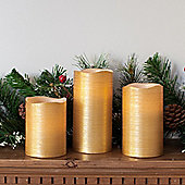 Set of 3 Gold Wax Battery LED Candles