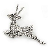 Crystal 'Antelope' Brooch In Rhodium Plating - 50mm Across