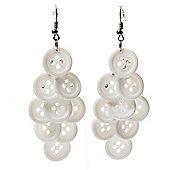 White Plastic Button Drop Earrings (Silver Tone) - 8cm Drop