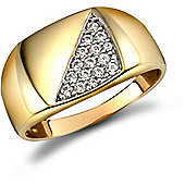 9ct Solid Gold polished squared cushion shaped Signet Ring pave-set with CZ stones