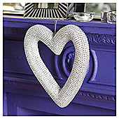 Silver Sequin Heart Christmas Decoration