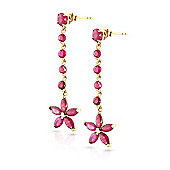 QP Jewellers 4.80ct Ruby Daisy Chain Earrings in 14K Gold