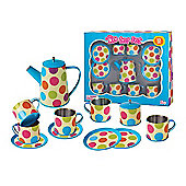 Tin Tea Set Colorful Spot - 13 Pieces