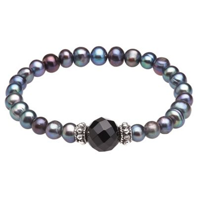 Black Pearl Stretch Bracelet with Black Agate Bead