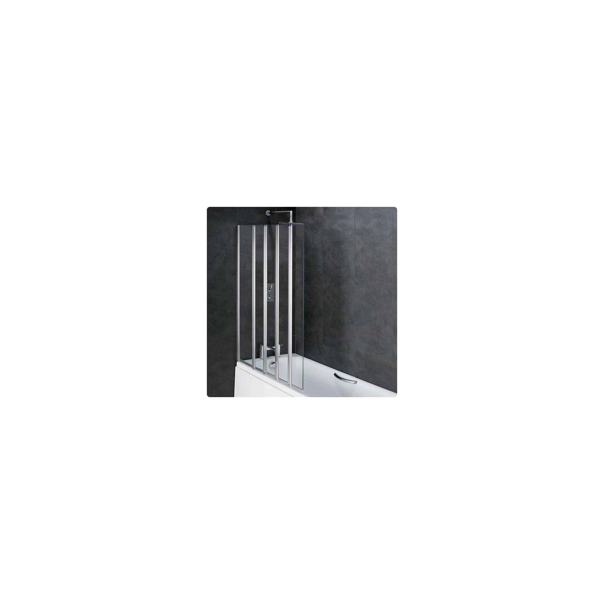 Duchy ROSETTA Folding Bath Screen 1 Fixed Panel with 4 Folding Panels LEFT HANDED with Silver Profile (1250mm Wide x 1400mm High) at Tesco Direct