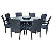 Rio (Armed) 8 Chairs And Large Round Table And Lazy Susan Set in Black